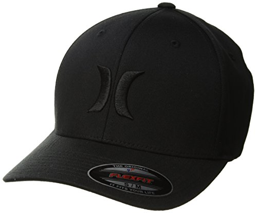 Hurley Men's One & Only Corp Flexfit Perma Curve Bill Baseball Hat, Black, L-XL (Surfing Baseball Caps)