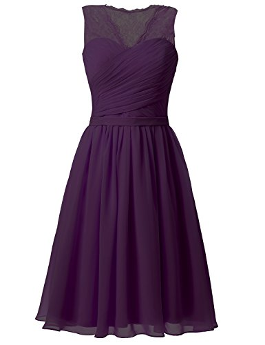 Sarahbridal Women's Lace Short Bridesmaid Dresses Chiffon V-Neck Prom Formal Dress Evening Party Gowns Purple US2