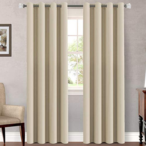 H.VERSAILTEX Premium Blackout Curtains for Bedroom Living Room Energy Efficient Window Panels Curtains Drapes - Classic Grommet Top (2 Panels, Beige, 52x84 -