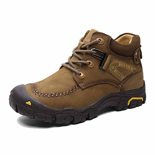 DEKESEN Men's Fur Lined Warm Winter Hiking Shoes Chukka Winter Boots