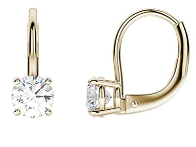 4.0 CT BRILLIANT ROUND CUT Simulated Diamond CZ Solitaire DROP DANGLE LEVERBACK EARRINGS 14K Yellow GOLD by Clara Pucci