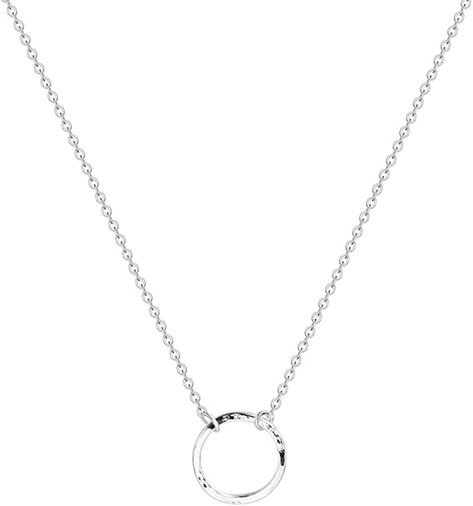Fettero Women Moon Necklace Hammered Coin Full Karma Circle New Crescent Moon Phase Pendant Dainty Chain Minimalist Simple Boho Jewelry Mother's Gift