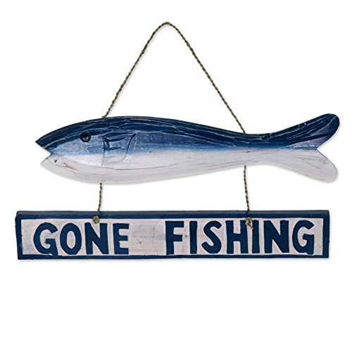 - NOVICA Hand Made Albesia Wood Fish Shaped Nautical Sign with Agel Grass Cord, 'Gone Fishing'