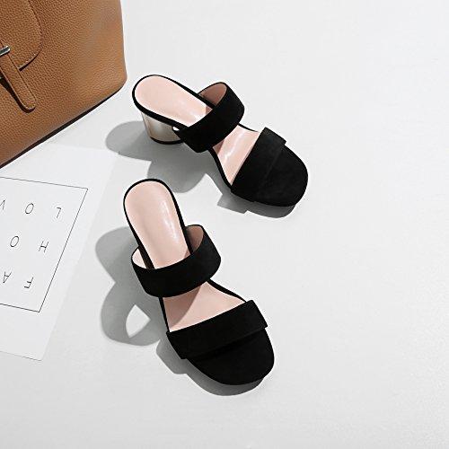 AJUNR Moda/elegante/Transpirable/Sandalias zapatillas estilo con negrita ranurado negro 6cm de alto-Heel Shoes 39 34
