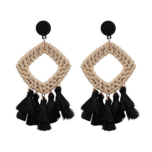 - HAO HONG Statement Beads Hoop Tassel Earrings for Women,Drop Earrings Handmade Beaded Fringe Dangle Earrings (Black)
