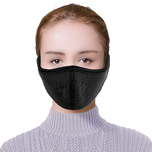 Amandir Winter Mouth Mask 2 in 1 Ear-Style Fleece Masks Winter Earmuffs Fashion Riding Cycling Ski Windproof Ear Warmers