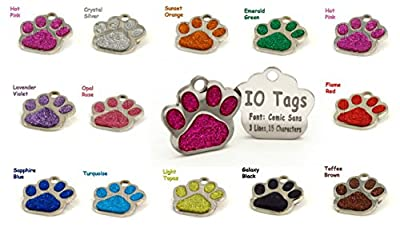 Laser Etched Glitter Paw Pet ID Tags Custom Personalized for Dog & Cat Paw Print Tag