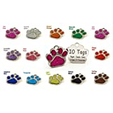 CUSTOMIZE NOW Laser Etched Glitter Paw Pet ID Tags FREE Custom Personalized for Dog & Cat Paw Print Tag