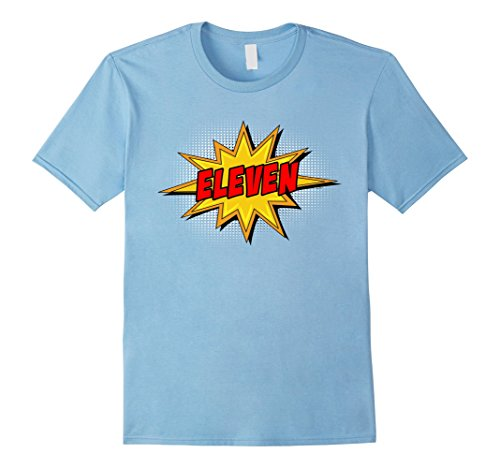 Comic Retro Old Shirt (Mens Kids 11th Birthday Comic Superhero T-Shirt for 11 Year Olds XL Baby Blue)