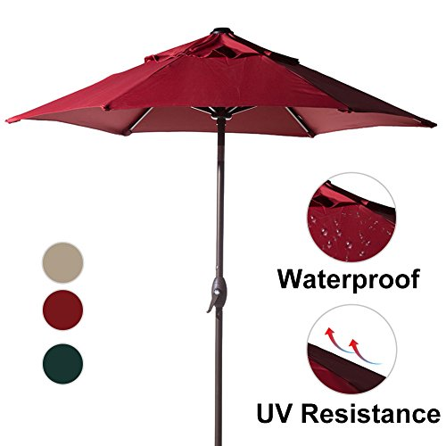 Push Button Crank Lift (Abba Patio 7-1/2 ft. Round Outdoor Market Patio Umbrella with Push Button Tilt and Crank Lift, Red)