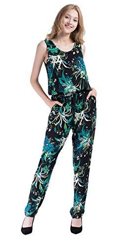 Vero Viva Women Boho Sleeveless Tropical Print Summer Tunic Jumpsuit with Pockets