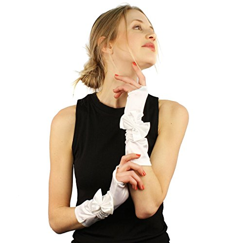 Ribbon Bow Satin Stretchy Fingerless Hook Evening Below Elbow Gloves White