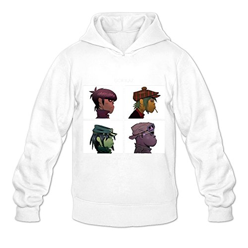 Soulya Men's Gorillaz Demon Days Streetwear Hoodies Sweatshirt Size L US White
