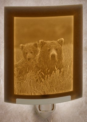 Bears - Mother & Cub - Curved Lithophane Porcelain Night - Lithophane Light Night