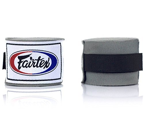 Fairtex HW2 Handwraps New Color Full-Length Elastic 100% Cotton - Length about 180 Inches (Gray)