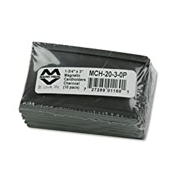 Magna Visual Magnetic Card Holders, 3 Inch Width x 1.75 Inch Height, Charcoal, 10 per Pack (MCH-2030P)