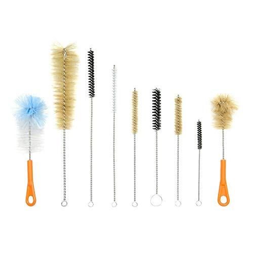 Houseables Bottle Brush, Hookah Cleaning Kit, Bong Brushes, Water Bubbler, Hose Tips Cleaner, 9 Pieces, Nylon, Natural & Synthetic Bristles, Small, Long, Scrubber for Tubes, Straws, Canning Jars