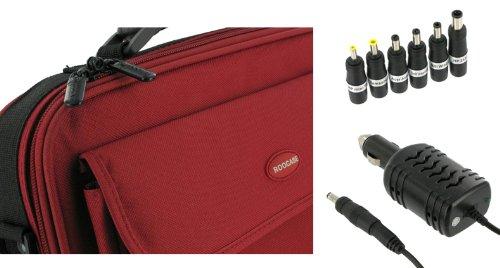 rooCase 2n1 Combo - Packard Bell 11.6-Inch Dot M Netbook Carrying Bag Case and 12v Car Charger - Red / Black Classic Series