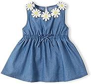 IFFEI Baby Girl Sleeveless Dress Denim Sunflower Knee Dress for Infant Toddler Girls