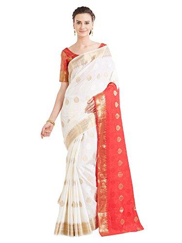 Viva N Diva Sarees for Women's Banarasi Party Wear Red & Cream Colour Banarasi Art Silk Saree with Un-Stiched Blouse Piece,Free Size