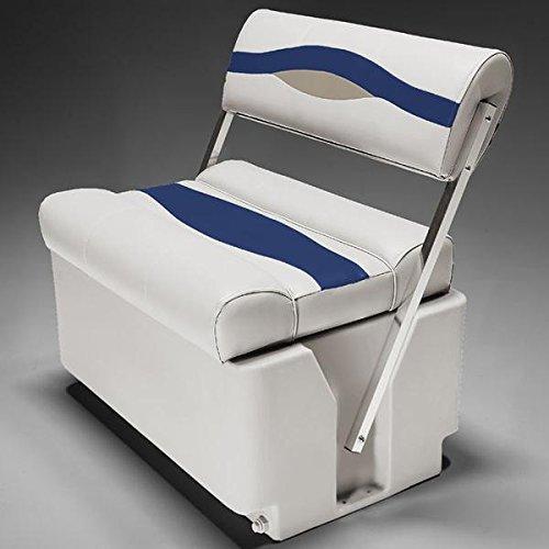 Premium Flip Flop Seat - DeckMate Premium Pontoon Flip Flop Seats (Ivory/Blue/Tan)