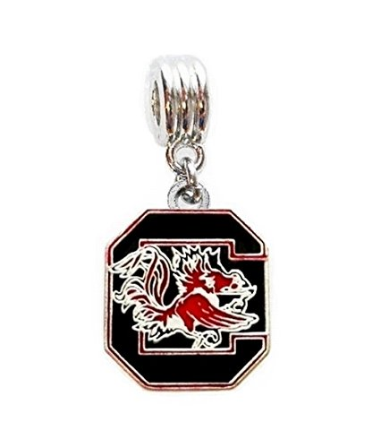 USC UNIVERSITY OF SOUTH CAROLINA GAMECOCKS CHARM SLIDER PENDANT FOR YOUR NECKLACE EUROPEAN CHARM BRACELET (Fits Most Name Brands) DIY PROJECTS ETC