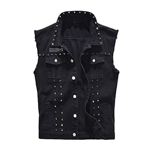 - HitZoom Jeans Vest Men Punk Rock Style Rivet Cowboy Motorcycle Denim Waistcoat