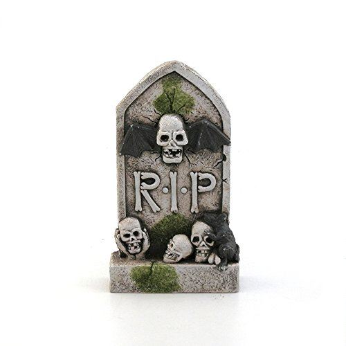Gorgeousstyles Mossy Bat Skull Tombstone Halloween Decor