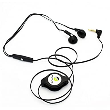 Amazon Com Black Retractable Stereo Headset Wired Dual Earbuds