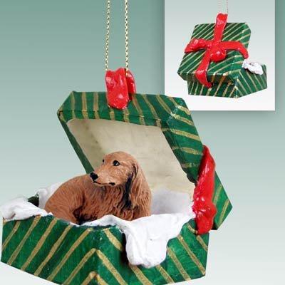 Dachshund Green Gift Box Dog Ornament - Longhair - Red