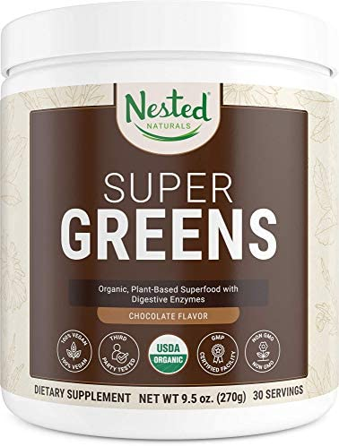 Super Greens Chocolate 1 Green Vegetable Superfood Powder 100 USDA Organic Non-GMO Vegan Supplement 20 Whole Foods Wheat Grass, Spirulina, Chlorella , Probiotics, Enzymes Smoothie Mix