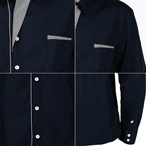 XI PENG Men's Casual Button Down Long Sleeve Striped-Trim Slim Fit Collared Dress Shirts (X-Large, Navy Blue) by XI PENG (Image #5)