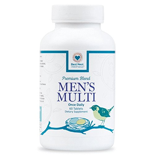 Best Nest Mens Multi   Methylfolate  Methylcobalamin  B12   Multivitamins  Probiotics  Made With 100  Natural Whole Food Organic Blend  Once Daily Multivitamin Supplement  60 Tablets