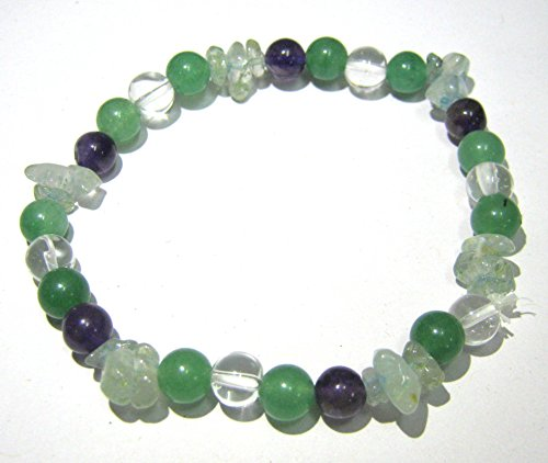 CRYSTALMIRACLE EXCLUSIVE CLEAR QUARTZ AMETHYST AQUAMARINE GREEN QUARTZ GEMSTONE BEADED KNOWLEDGE BRACELET GIFT FASHION WICCA JEWELRY POWER HEALTH WEALTH CRYSTAL HEALING CHAKRA SUCCESS LUCK ()