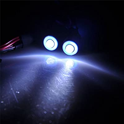 MOHERO 2 LEDs Angel Eyes & Demon Eyes LED Light Headlights for 1/10 RC Model Crawler Cars Headlamps (Blue+White, 10mm): Toys & Games