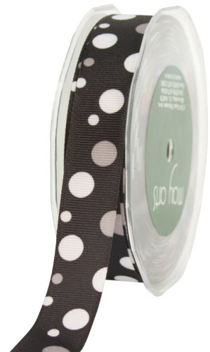 - May Arts 7/8-Inch Wide Ribbon, Black and White Grosgrain Bubble Dots