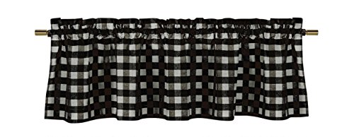 lovemyfabric Poly Cotton Gingham Checkered Plaid Design Kitchen Curtain Valance Window Treatment-Black