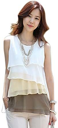MAKIYO niveles reloj de mujer con esfera de costura para blusas sin mangas para mujer blusa de chifón de falda de cojín