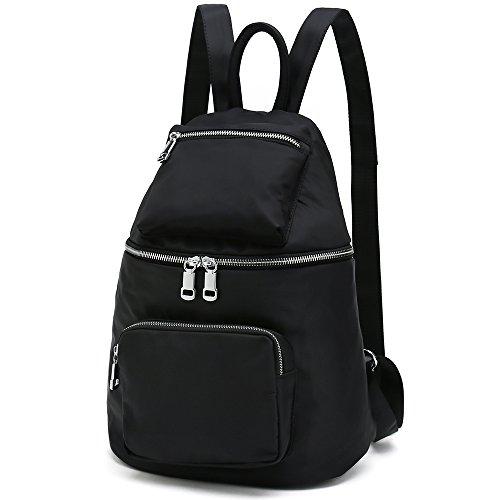 Stylish Designer Backpacks for Women Small Waterproof Nylon School Bookbags (Type 3 Black)