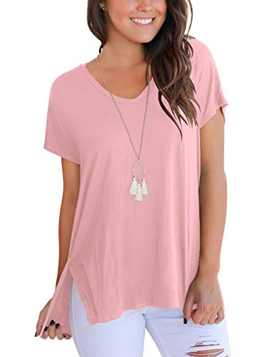 (Cute Summer Tops Womans Loose Flowy Tshirt Short Sleeve Basic Tunic Shirts for Leggings Pink)