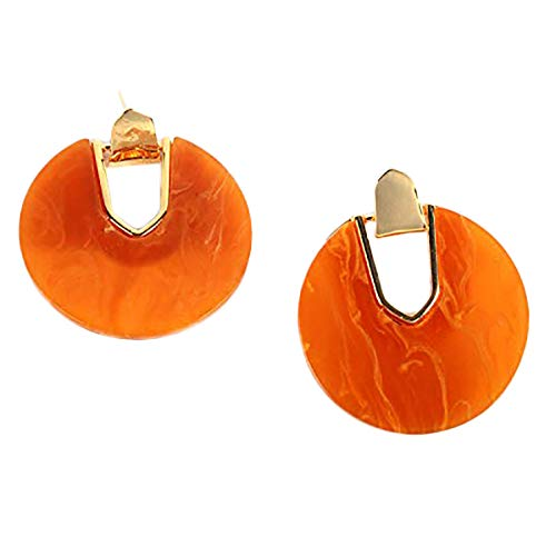 Tortoise Earrings Shell Acrylic Resin Stud Earring for Women Girls Fashion Jewelry Gift 1 Pair (Orange) ()