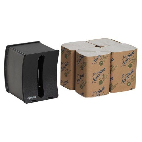 (Georgia-Pacific EasyNap 5458000 5 Piece Black Tabletop Dispenser and Napkins Starter Kit)