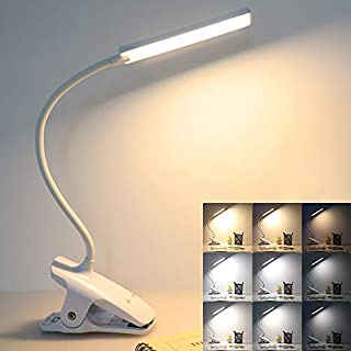 LED Reading Light with Clip - Deaunbr USB Rechargeable Book Lights, Eye Protection 24 LEDs Flexible Neck Night Bed Lamp, Touch Control Portable Wireless Clamp Desk Lamps for Bed Headboard, Computers