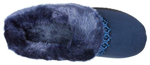 Navy Isotoner Women's Slipper Blue Nola Microsuede Hoodback B7nvXU