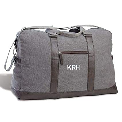24 by 16 by 10 Personalized Monogrammed Large Grey Canvas Durable Duffel Bag
