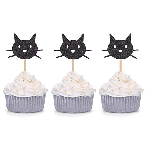 Giuffi Set of 24 Black Cat Cupcake Toppers Kids' Party Decors -