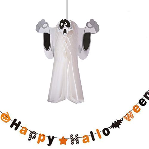 Halloween Ghost Bunting (Tutuziyyy Halloween Ghost Pendant and Pumpkin Alphabet Star Banners Holiday Hanging Bunting Flag for Party Home Window)