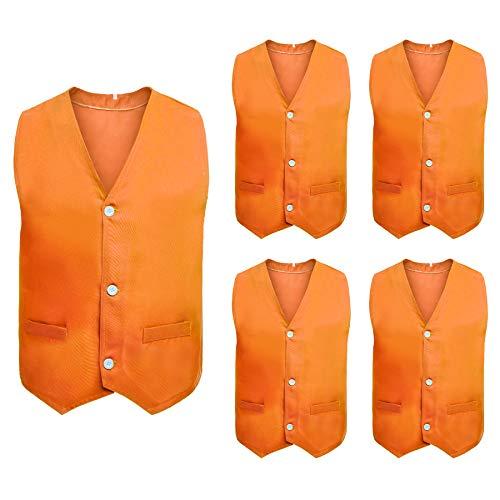 TOPTIE 5 Packs Button Vest Twill Dressing Up Waistcoat Halloween Costume for Boys Girls-Orange-6X/7