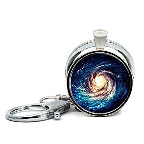Keychain Round Pendant Swirl the Starry Sky Glass Cabochon Key Rings Stainless Steel Metal Handmade Charm Pendants