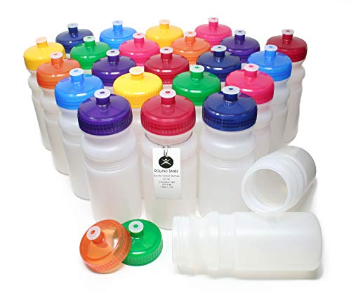 Rolling Sands 20 Ounce Sports Water Bottles 24 Pack, BPA-Free, Made in USA, Dishwasher Safe, Clear Frost Bottles/Variety